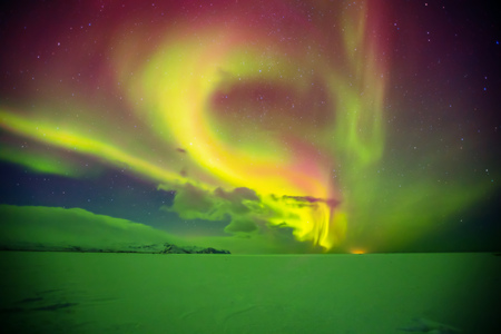 Beautiful aurora borealis northern light in Iceland, shot in early winter period