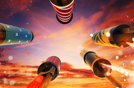 Bottom view of fireworks rockets launching into the sky, free space for text. Concept of celebration and New Years Eve. 3D render of rockets.
