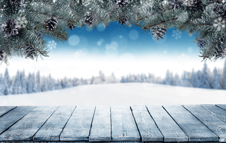 Winter background with empty wooden planks and fir branches. Free space for product placement. Snowy landscape on background Zdjęcie Seryjne
