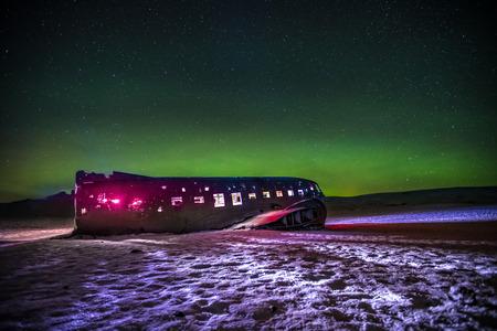 Beautiful illuminated airplane wreck on Solheimasandur, Iceland