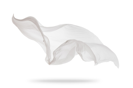 Smooth elegant white transparent cloth separated on white background. Texture of flying fabric. Very high resolution image