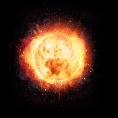 Abstract fire ball explosion like the Sun concept, isolated on black background 写真素材