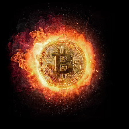 Burning Bitcoin crypto currency symbol, isolated on black background. Concept of digital currency and risk Stock Photo - 93059850