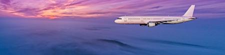 美しい夕日の光、側面の眺めで雲の上を飛ぶ民間航空機ジェット旅客機。旅行とビジネスのコンセプト。