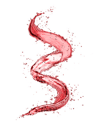 Red wine abstract splash shape isolated on white background.