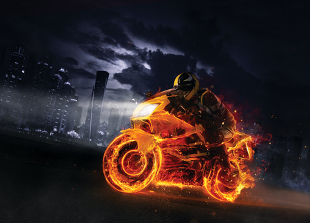 Super-sport fire motorbike with skyscrapers on background. Wallpaper motive with fast motorcycle in dramatic dark scene. Stockfoto