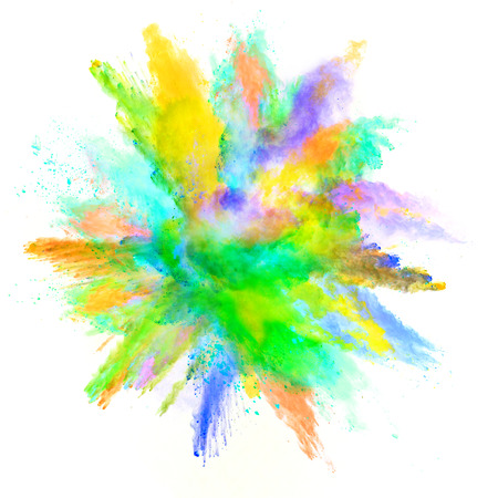 Abstract colored powder explosion isolated on white background. High resolution texture