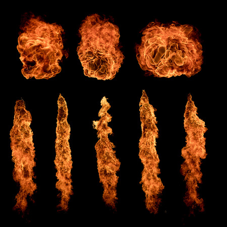 Fire balls textures collection isolated on black background. Very high resolution image