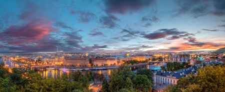 Prague evening panoramic view of river Vltava and bridges. Prague is the capitol city of Czech republic, Europe. Sunset sky