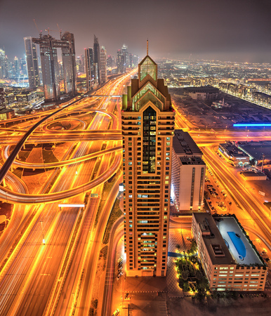 Dubai sunset panoramic view of downtown. Dubai is super modern city of UAE, cosmopolitan megalopolis. 写真素材