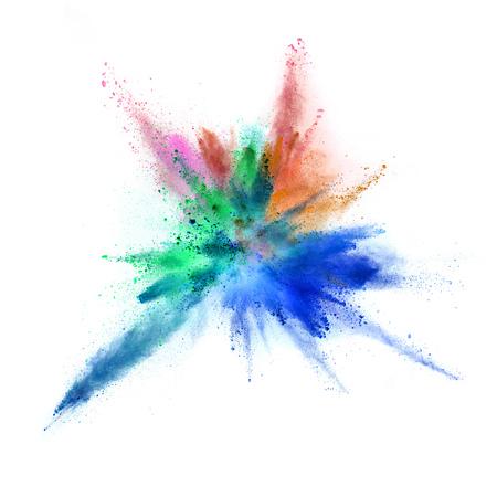 Explosion of coloured powder isolated on white background.