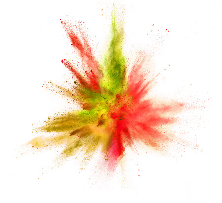 Explosion of coloured powder isolated on white background.