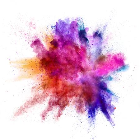 Explosion de poudre colorée isolée sur fond blanc Banque d'images