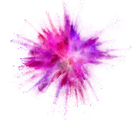 Explosion of coloured powder isolated on white background