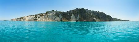 Beautiful panoramic view of Kefalonia island with beaches, Greece