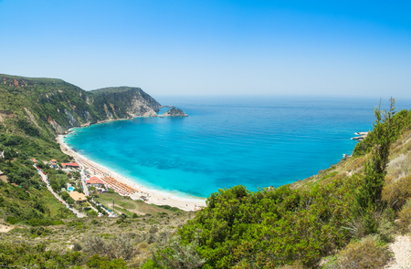 Beautiful panoramic view of Myrtos beach, Kefalonia, Greece