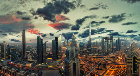 Dubai sunset panoramic view of downtown. Dubai is super modern city of UAE, cosmopolitan megalopolis. Very high resolution image 写真素材