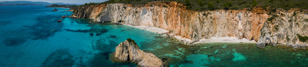 Beautiful panoramic view of Anchoring yacht in bay, Kefalonia, Greece. Stock Photo
