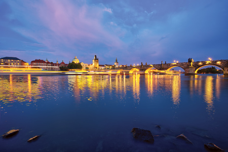 Old Charles Bridge in Prague, Czech republic, Europe. One of the most famous historical landmark in Prague.