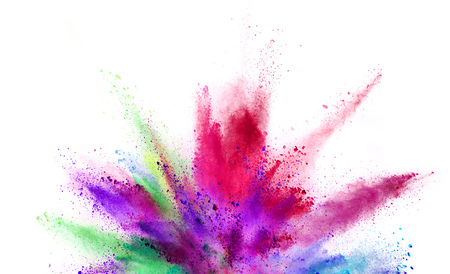 Explosion of coloured powder isolated on white background. Abstract colored background Stock fotó - 106968438