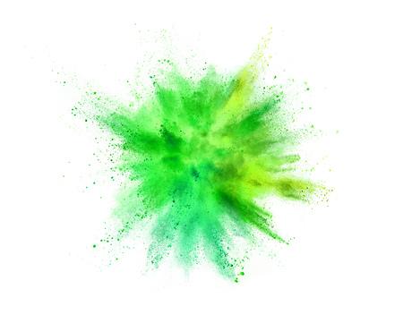 Explosie van gekleurd poeder geïsoleerd op een witte achtergrond. Samenvatting gekleurde achtergrond Stockfoto - 106734785