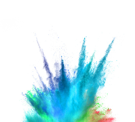 Explosion of coloured powder isolated on white background. Abstract colored background