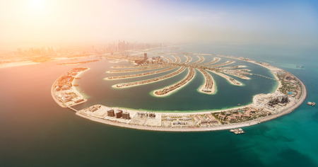 Aerial view of artificial palm island in Dubai. Panoramic view. Reklamní fotografie - 107138963