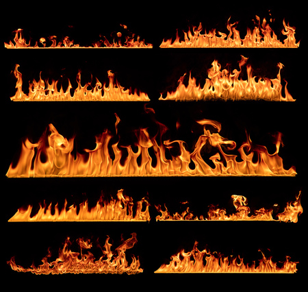 Set of flames textures, isolated on black background.