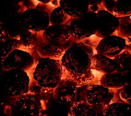 炎の熱い炭のブリケットを詳細に。