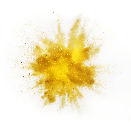 Explosion of colored powder isolated on white background. Abstract colored background