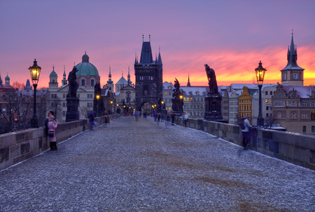 Charles bridge in Prague during sunrise, Czech republic Stock Photo