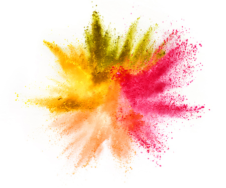 Multi colored powder explosion isolated on white Banque d'images - 116986749