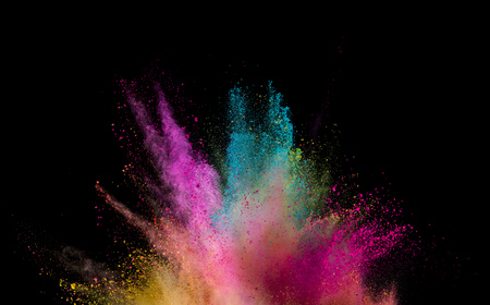 Explosion of colored powder isolated on black background. Abstract colored background Stock fotó - 117028630