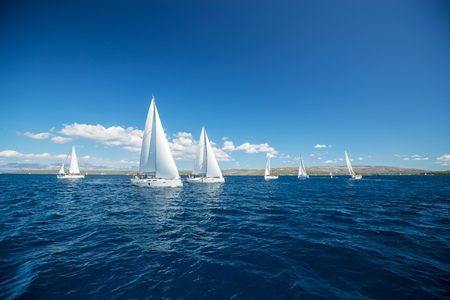Sailing yachts regatta competition. Summer sport and recreation activities.