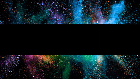 Explosion of coloured powder with empty stripe, isolated on black background. Abstract colored background