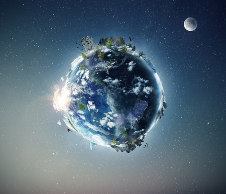 Full view of planet Earth from the space. Half day and night concept. Fauna and flora in ecosystem. Stock fotó