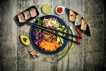 Top view composition of Bun bo nam bo vietnamese food in bowl
