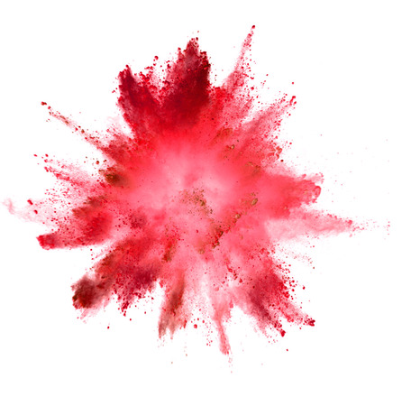 Explosie van gekleurd poeder geïsoleerd op een witte achtergrond. Abstracte gekleurde achtergrond Stockfoto