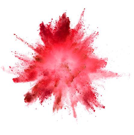 Explosion des farbigen Pulvers lokalisiert auf weißem Hintergrund. Abstrakter farbiger Hintergrund Standard-Bild