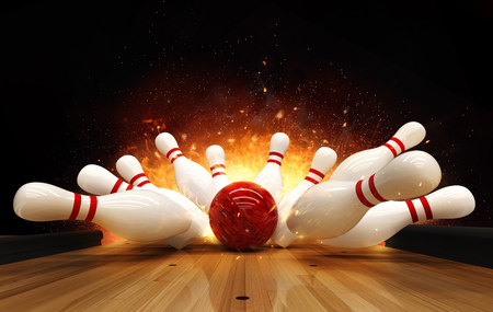Bowling strike hit with fire explosion. Concept of success and win. Foto de archivo - 122413969