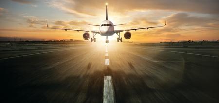 Commercial jetliner landing on runway.