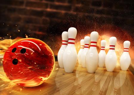 Bowling geraakt met vuurbal die op de vloer rolt. Concept van succes en win.