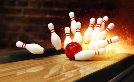 La grève de bowling a frappé avec une explosion de feu. Concept de succès et de victoire. Banque d'images