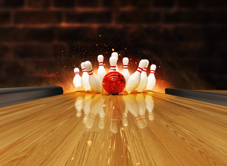Bowling strike hit with fire explosion. Concept of success and win. Stockfoto - 122413984