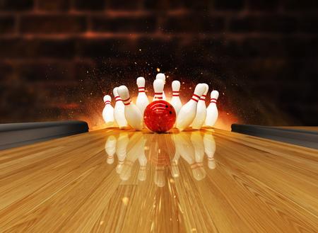 Huelga de bolos golpeada con explosión de fuego. Concepto de éxito y victoria.
