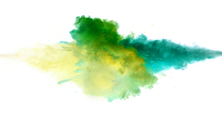 Collision of colored powder isolated on white background. Abstract colored background Banque d'images - 123516388