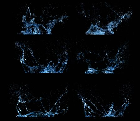 Water splashes collection isolated on black background. Abstract shapes