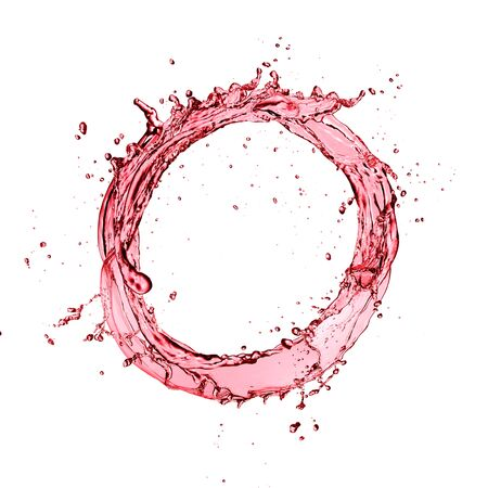 Red wine circle splash isolated on white