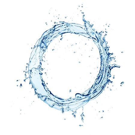 Plusk fali wody na białym tle Zdjęcie Seryjne