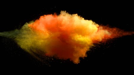 Collision of colored powder isolated on black background. Abstract colored background Banque d'images